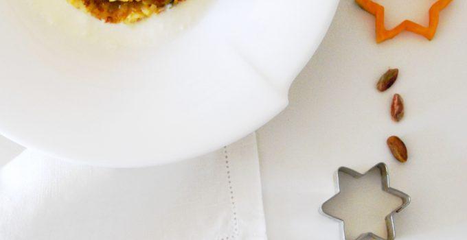Millefoglie di risotto alla zucca con pistacchi e fonduta