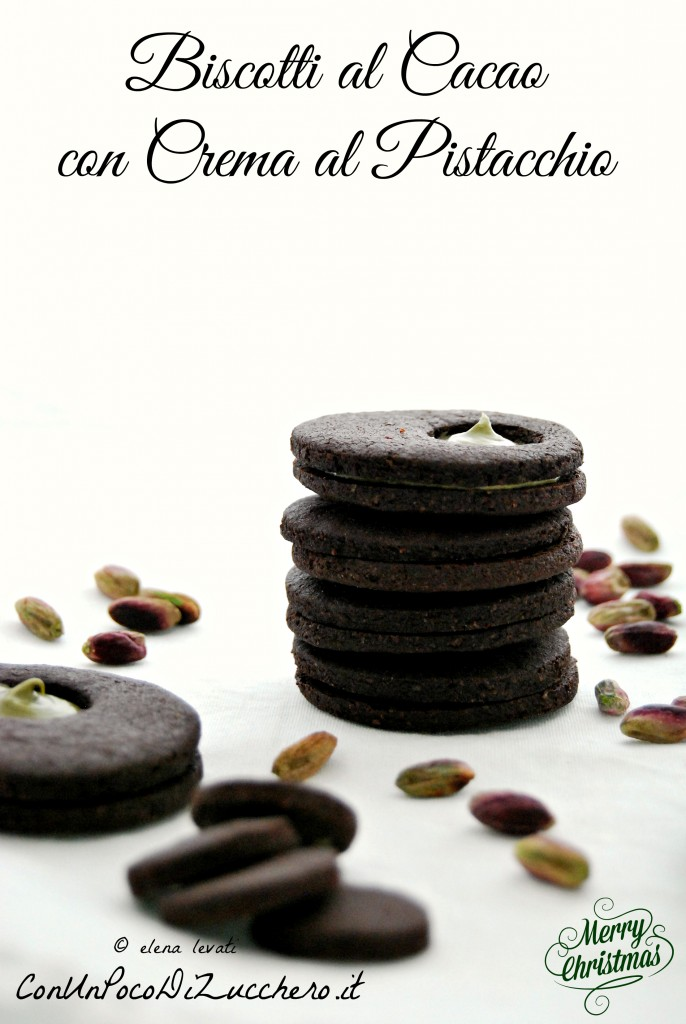 Biscotti al cacao farciti con crema al pistacchio 2