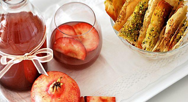 sfogliette super crunchy e aperitivo alla mela e melograno