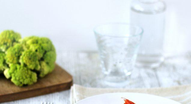 risotto con cavolfiore verde calamari e gamberi